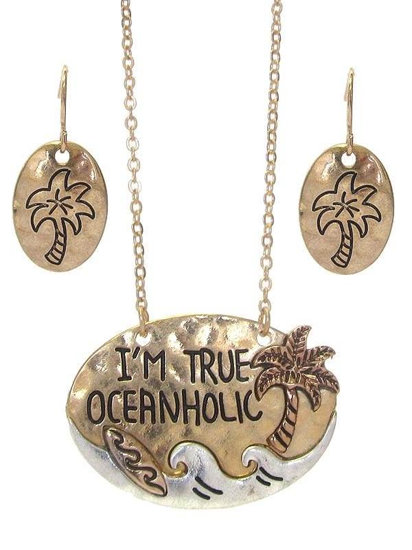 Im A True Oceanholic Sea Life Pendant Necklace Set - Worn Gold/worn Silver - Jewelry