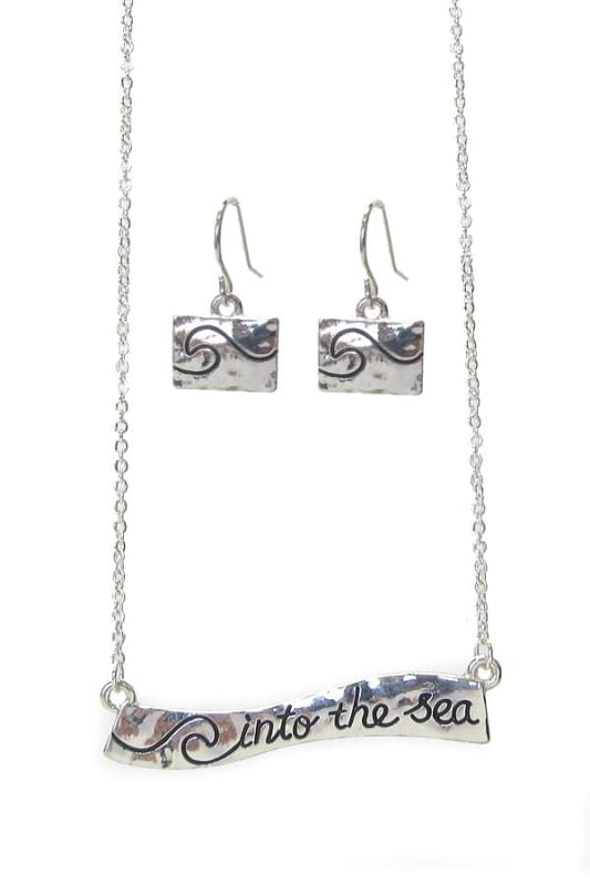 Into The Sea Wave Necklace Set - Silver - Jewelry