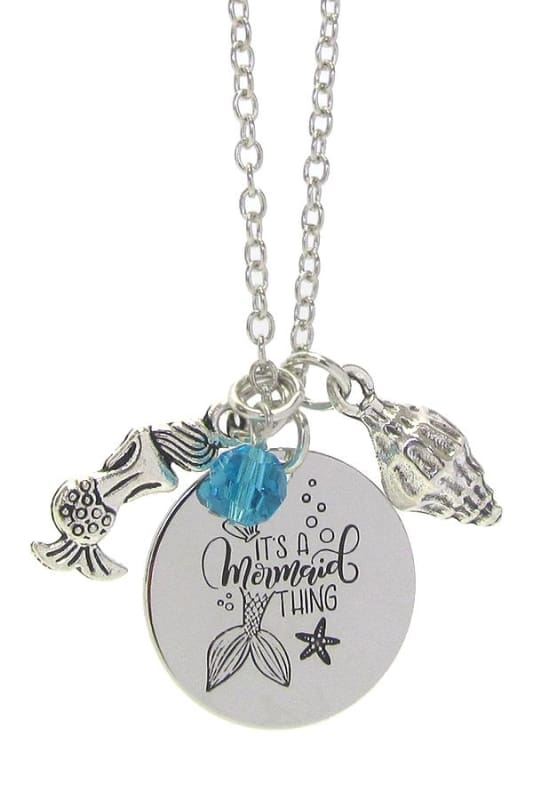 Its A Mermaid Thing Pendant Necklace - Silver - Jewelry