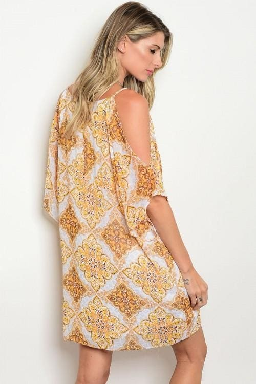 Ivory Yellow Print Cold Shoulder Dress - Apparel