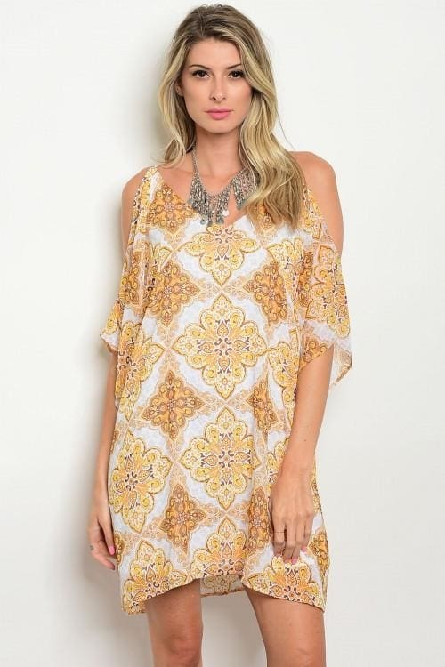 Ivory Yellow Print Cold Shoulder Dress - Small - Apparel