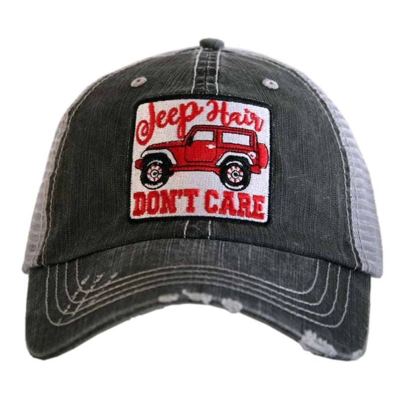 Jeep Hair Dont Care Womens Patch Hat - Red - Hats