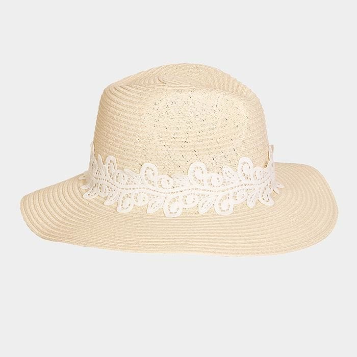 Lace Trim Straw Sun Hat - Ivory - Hats