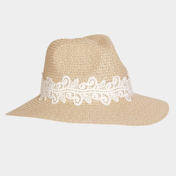Lace Trim Straw Sun Hat - Taupe - Hats