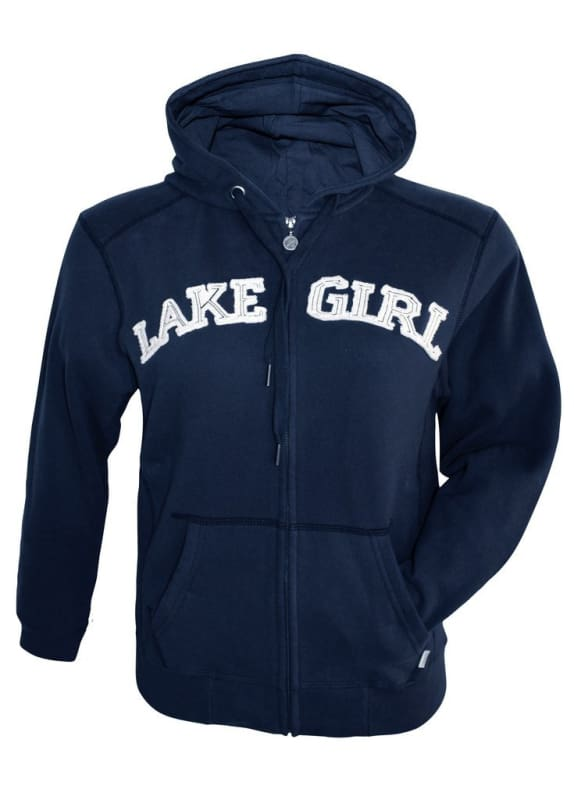 Lakegirl Classic Full Zip Hoodie Sweatshirt - Small / Navy - Apparel