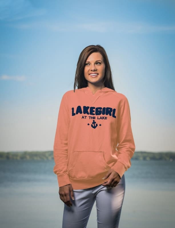 Lakegirl French Terry Hoodie Sweatshirt - Small / Coral - Apparel