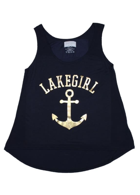 Lakegirl Gold Anchor Tank - S - Apparel