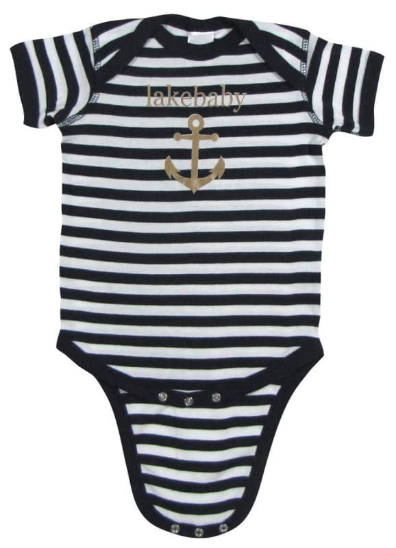 Lakegirl Lakebaby Onesie - Navy Stripes / 6 Months - Apparel