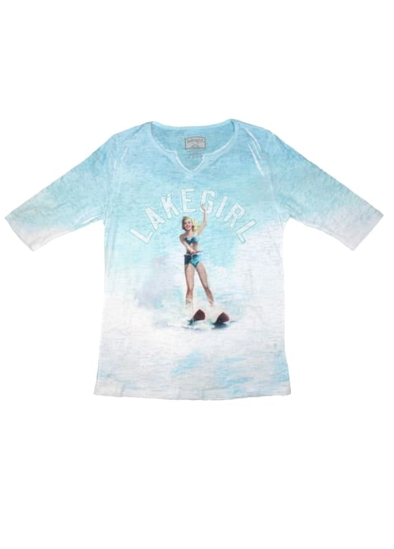 Lakegirl Ski Girl 3/4 Sleeve Length Tee Shirt - Apparel