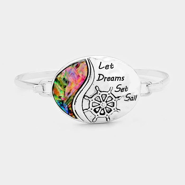 Let Dreams Set Sail Abalone Ship Wheel Oval Bracelet - Antique Silver - Jewelry