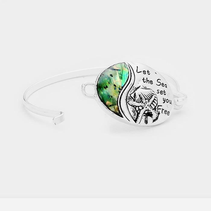 Let The Sea Set You Free Abalone Starfish Shell Oval Hook Bracelet - Jewelry