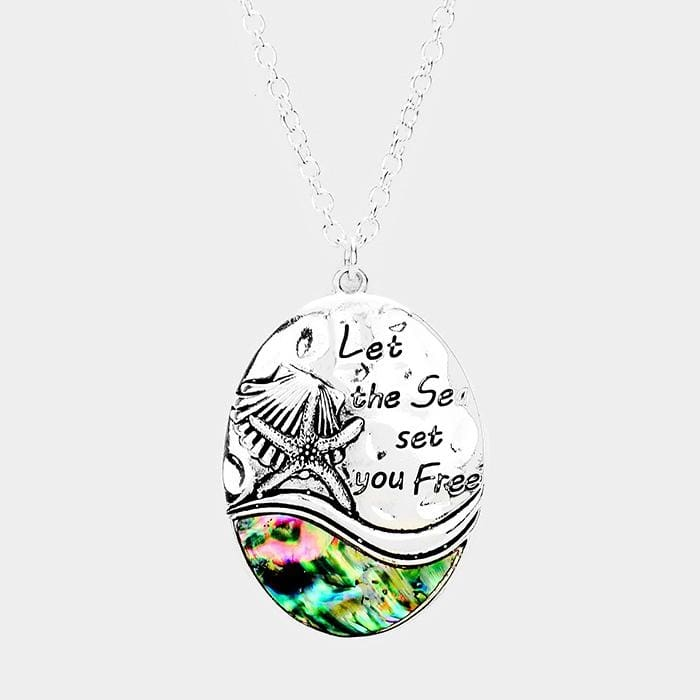Let The Sea Set You Free Abalone Starfish Shell Pendant Necklace - Antique Silver - Jewelry