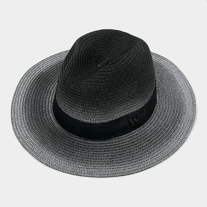 Letter W Ombre Paper Straw Fedora Hat - Black - Hats