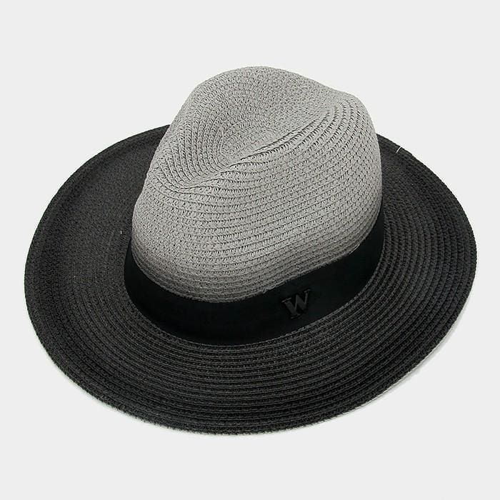 Letter W Ombre Paper Straw Fedora Hat - Grey - Hats