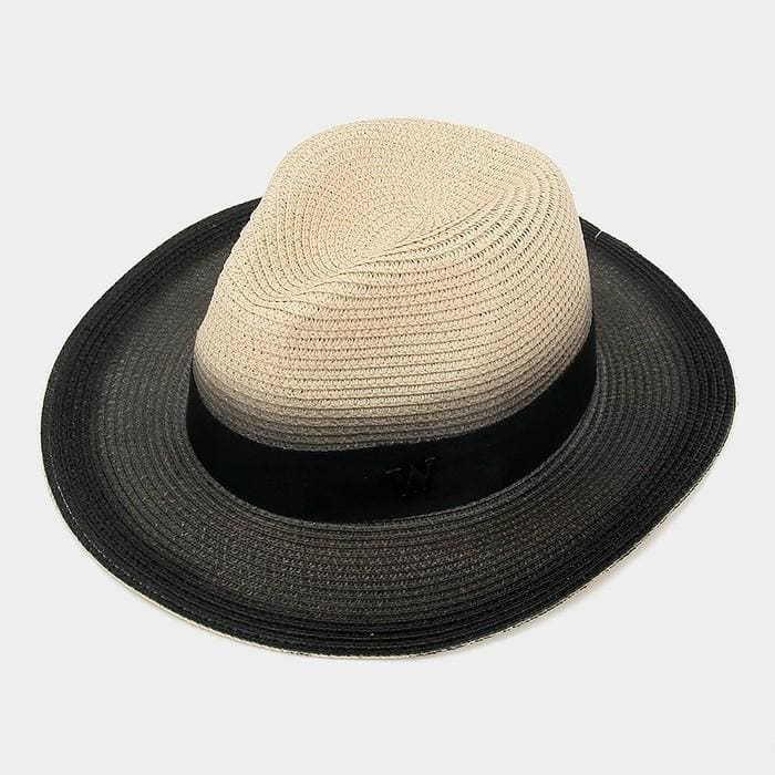 Letter W Ombre Paper Straw Fedora Hat - Khaki - Hats