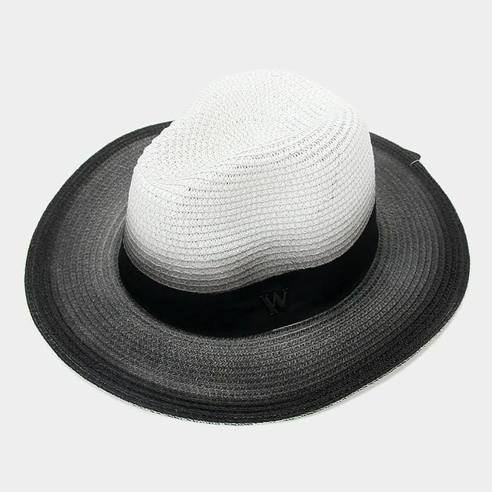 Letter W Ombre Paper Straw Fedora Hat - White - Hats