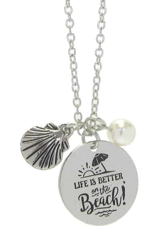 Life Is Better On The Beach Pendant Necklace - Silver - Jewelry