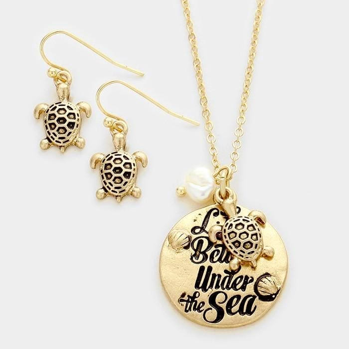 Life Is Better Under The Sea Pendant Necklace - Worn Gold - Jewelry