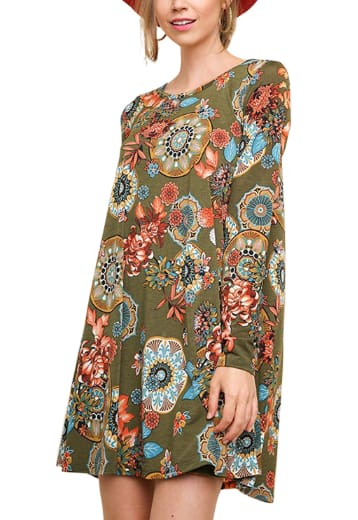 Long Sleeve Floral Print Dress - Olive Mix / Small - Apparel
