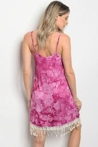 Magenta Tie Dye Dress - Apparel
