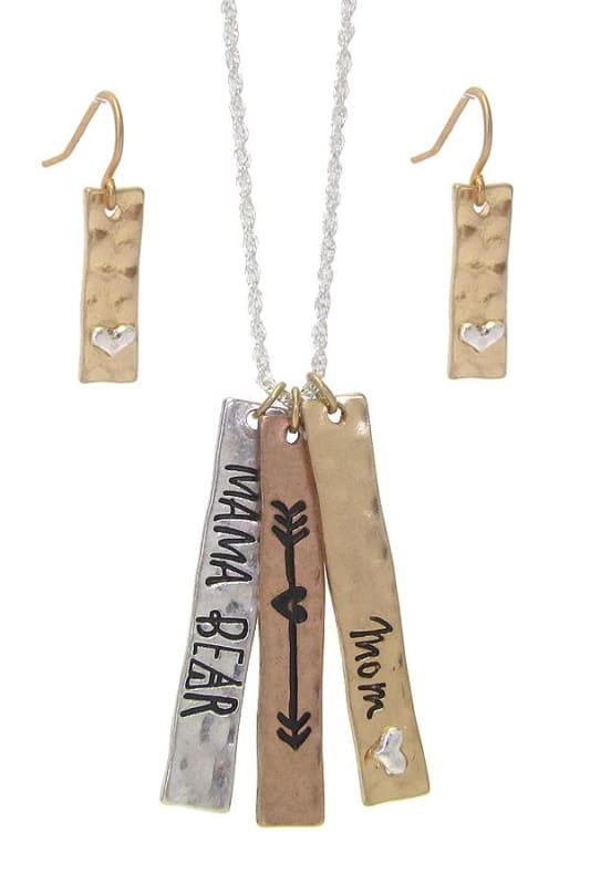 Mama Bear Triple Bar Pendant Necklace Set - Tricolor - Jewelry