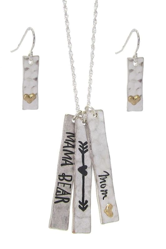 Mama Bear Triple Bar Pendant Necklace Set - Worn Silver - Jewelry