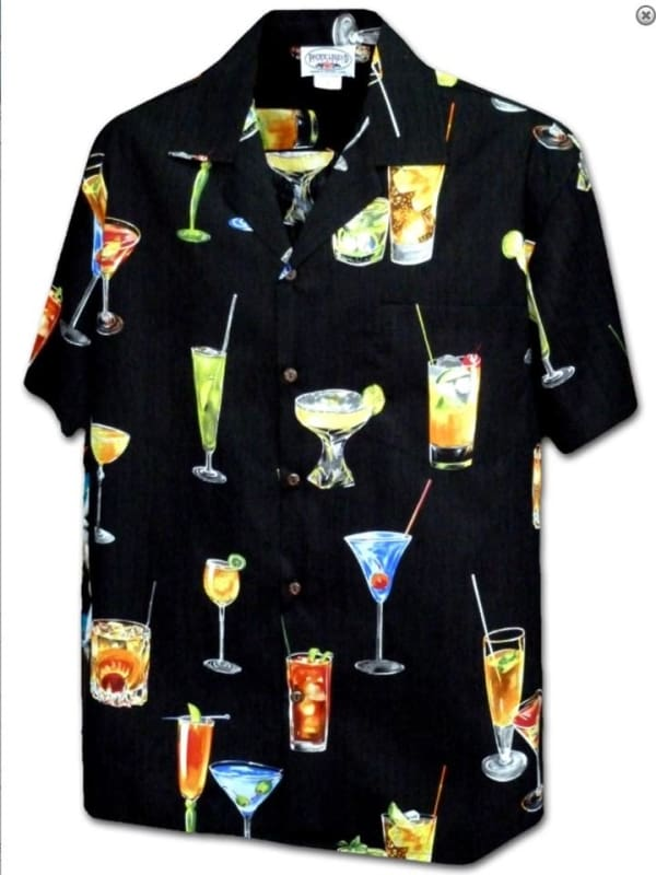 Mens Mix Drinks All Over Shirt - L / Black - Apparel