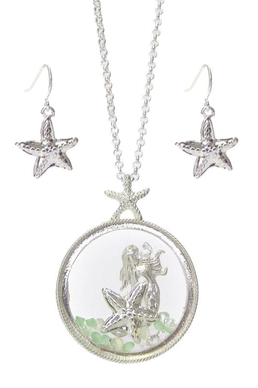 Mermaid Fixed Locket Charm Necklace Set - Worn Silver - Jewelry