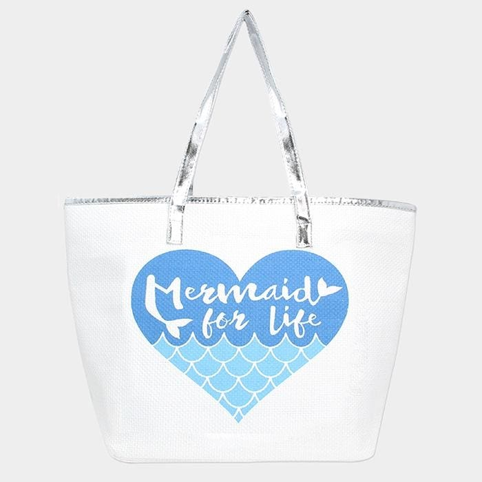 Mermaid For Life Metallic Handle Tote Bag - Turquoise - Hand Bags