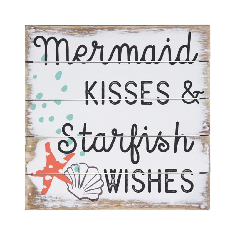 Mermaid Kisses & Starfish Wishes Sign - 6X6 - Wood Signs