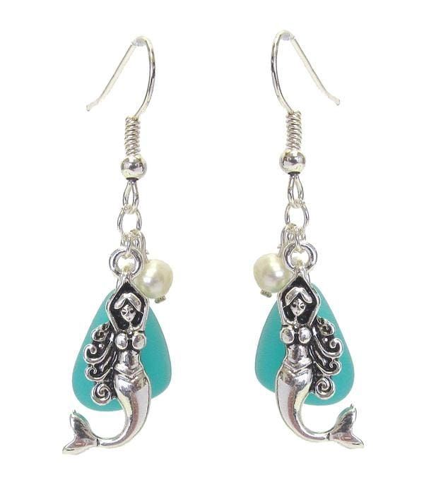 Mermaid & Pearl Sea Glass Sea Life Earrings - Silver/turquoise - Jewelry