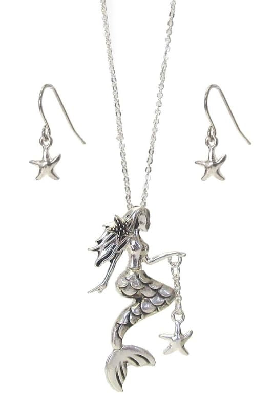 Mermaid Pendant Necklace Set - Silver - Jewelry