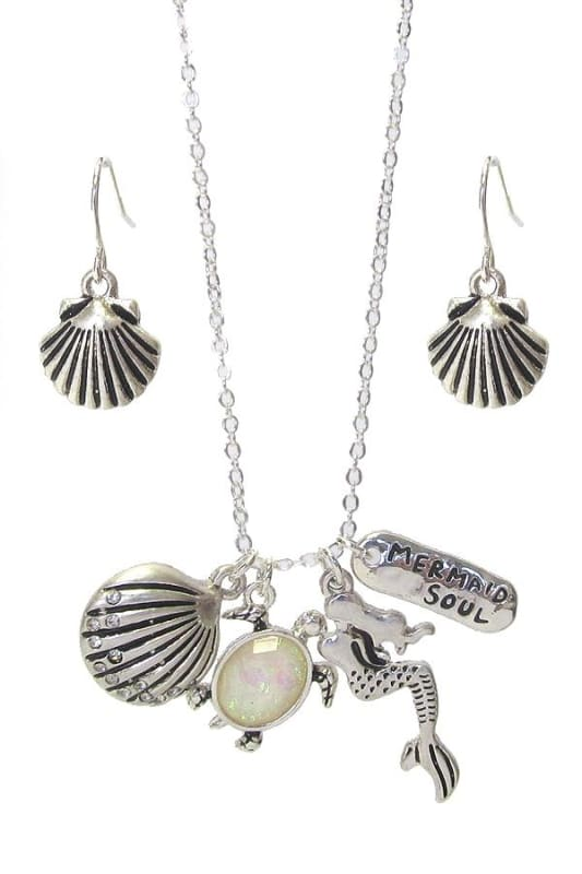 Mermaid Soul Sea Life Multi Charm Pendant Necklace Set - Silver - Jewelry