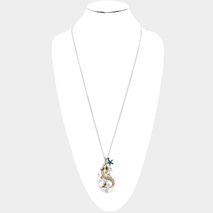 Mermaid Starfish Spoon Pendant Long Necklace - Jewelry