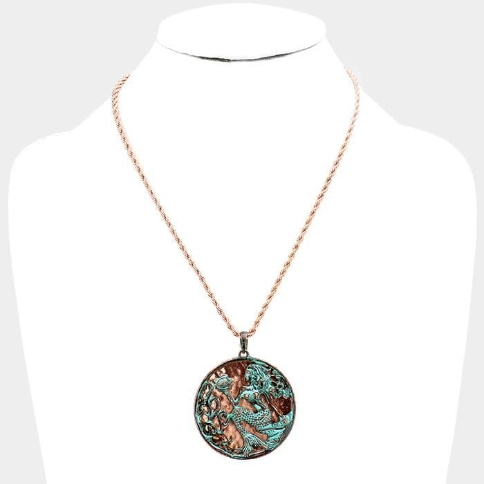 Metal Mermaid Pendant Necklace - Jewelry
