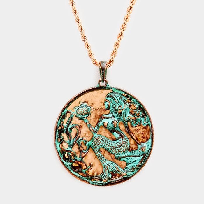 Metal Mermaid Pendant Necklace - Patina Verdigris - Jewelry