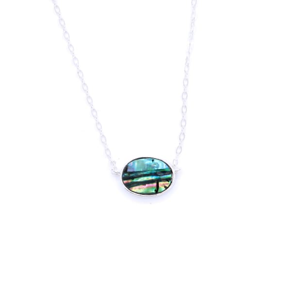 Mult-Colored Green Stone Pendant W/thin Link Chain Necklace - Silver/multi Colored Green - Jewelry