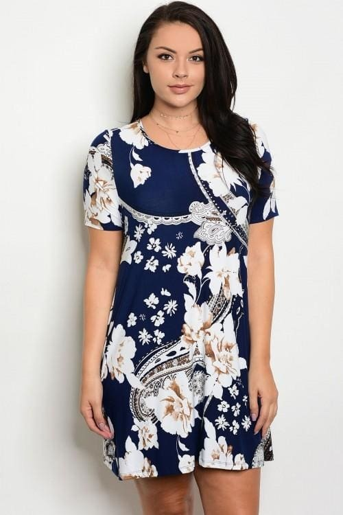 Barefoot Beach Bums - Navy White Floral Plus Size Dress