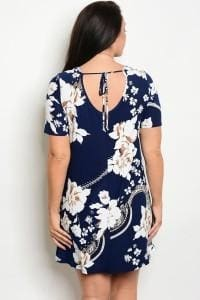 Navy White Floral Plus Size Dress - Apparel