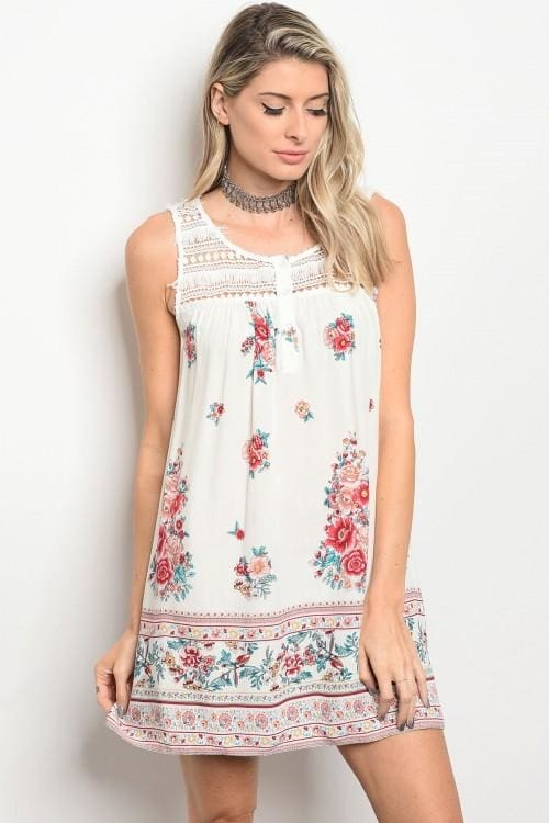 Off White Floral Dress - S - Apparel