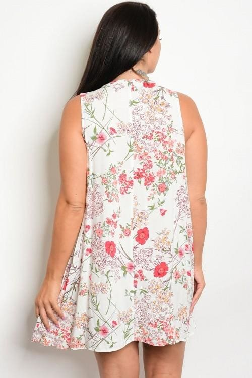 Off White Floral Plus Size Dress - Apparel