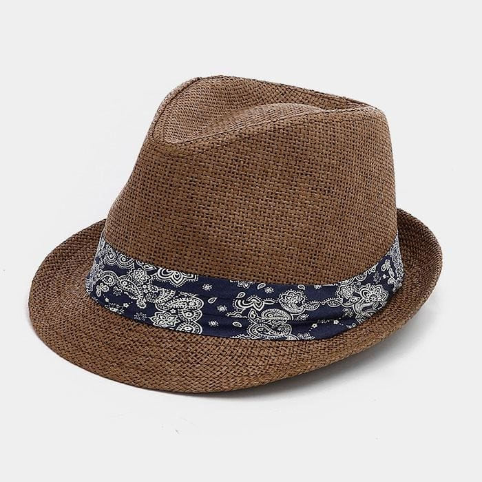 Paisley Band Paper Straw Fedora - Brown - Hats