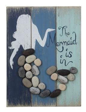 Pebble/wood The Mermaid Is In Sign - 6.75 X 1.50 X 9.0 - Wood Sign