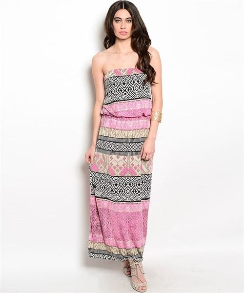 Pink Beige Black Dress - Small - Apparel
