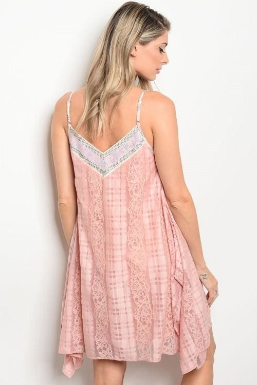 Pink Lace Skater Dress - Apparel