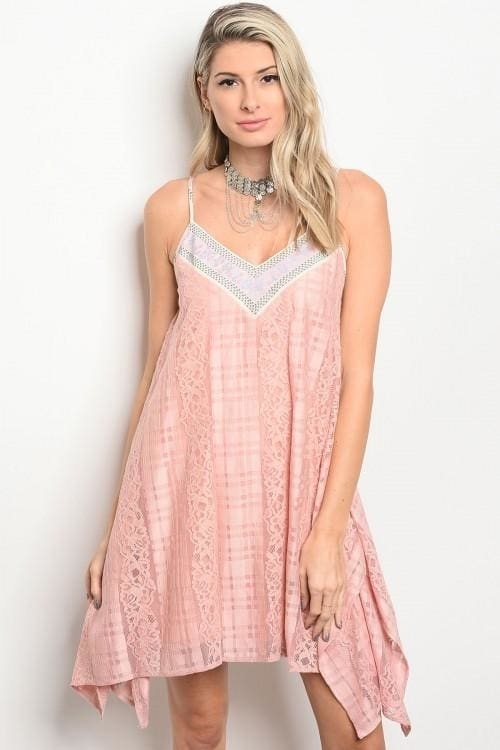 Pink Lace Skater Dress - Small - Apparel
