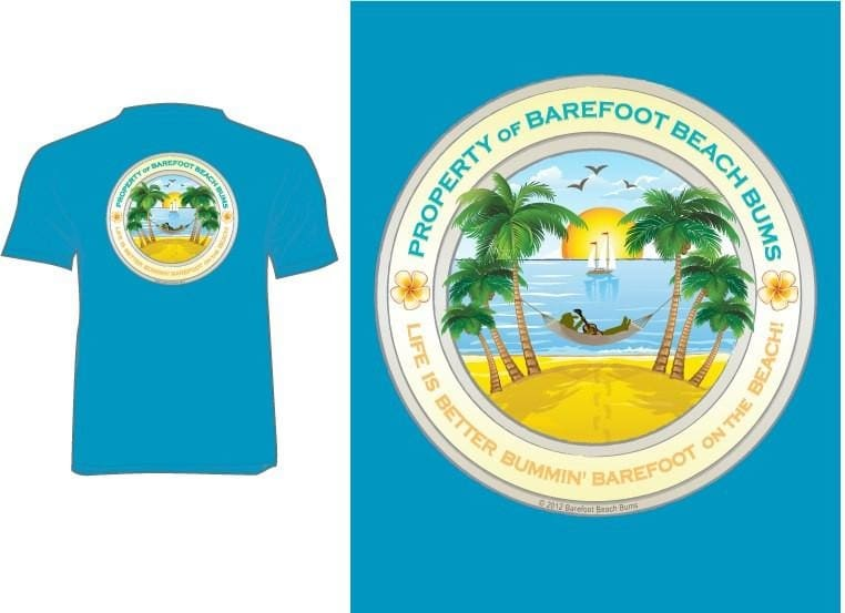 Property Of Barefoot Beach Bums - S / Turquoise - Apparel