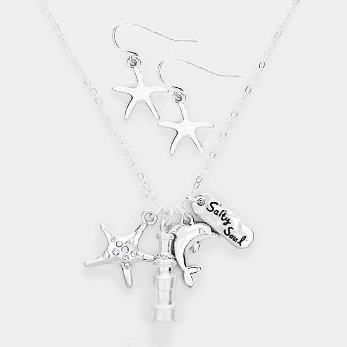 Salty Soul Starfish Dolphin Pendants Necklace - Antique Silver - Jewelry