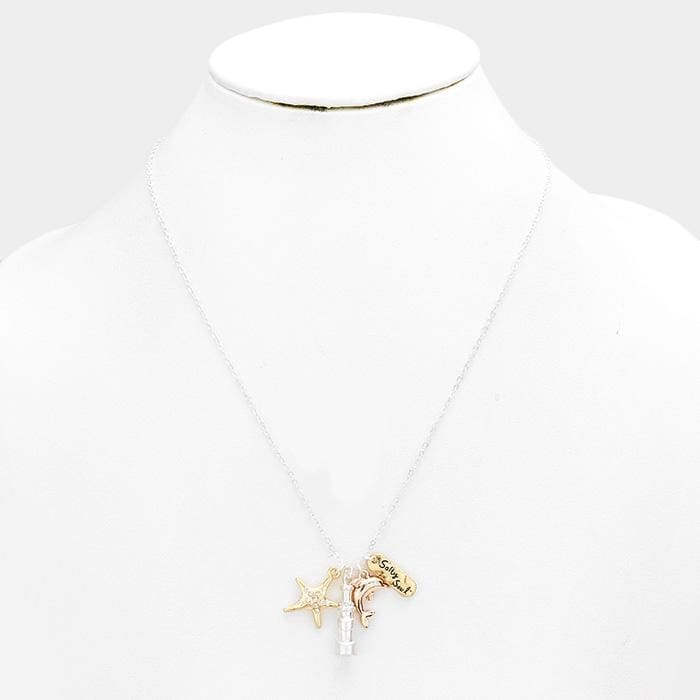 Salty Soul Starfish Dolphin Pendants Necklace - Jewelry
