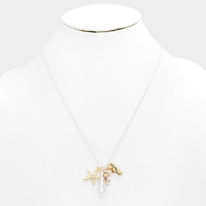 Salty Soul Stone Starfish Dolphin Pendants Necklace - Jewelry